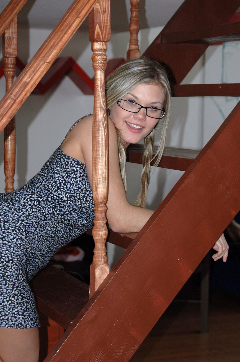 Smiling Girl In Glasses On The Stairs  Russian Sexy Girls-2076