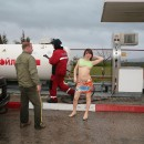 Two patite russian teens flashes boobs and hairy pussy at gas station