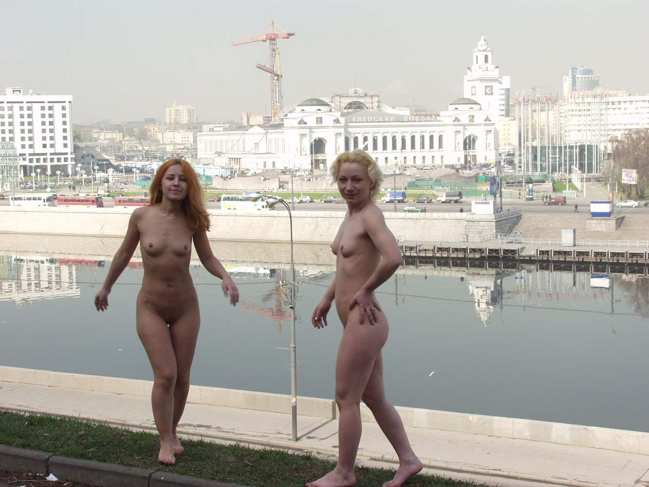 Two Russian Girls Walking Naked And Kissing At Public -4771