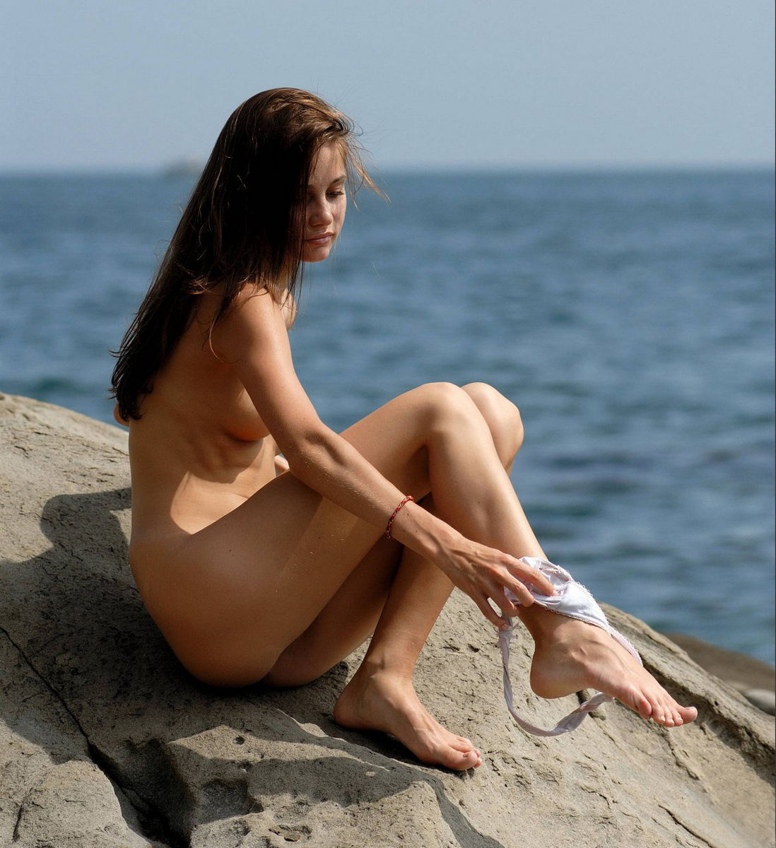 Very skinny russian babe posing at rocks   Russian Sexy Girls