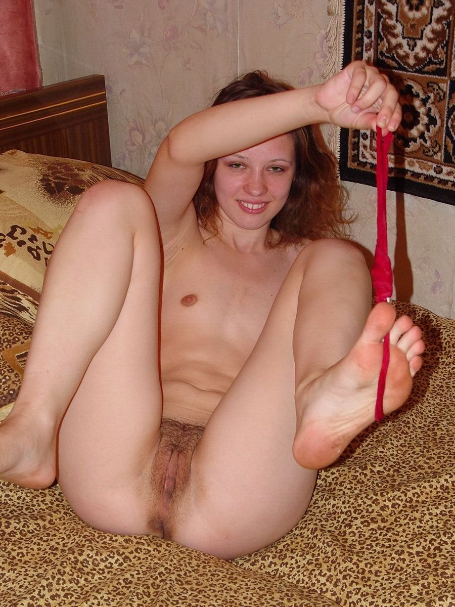 amateur russian girl takes off red panties to show big