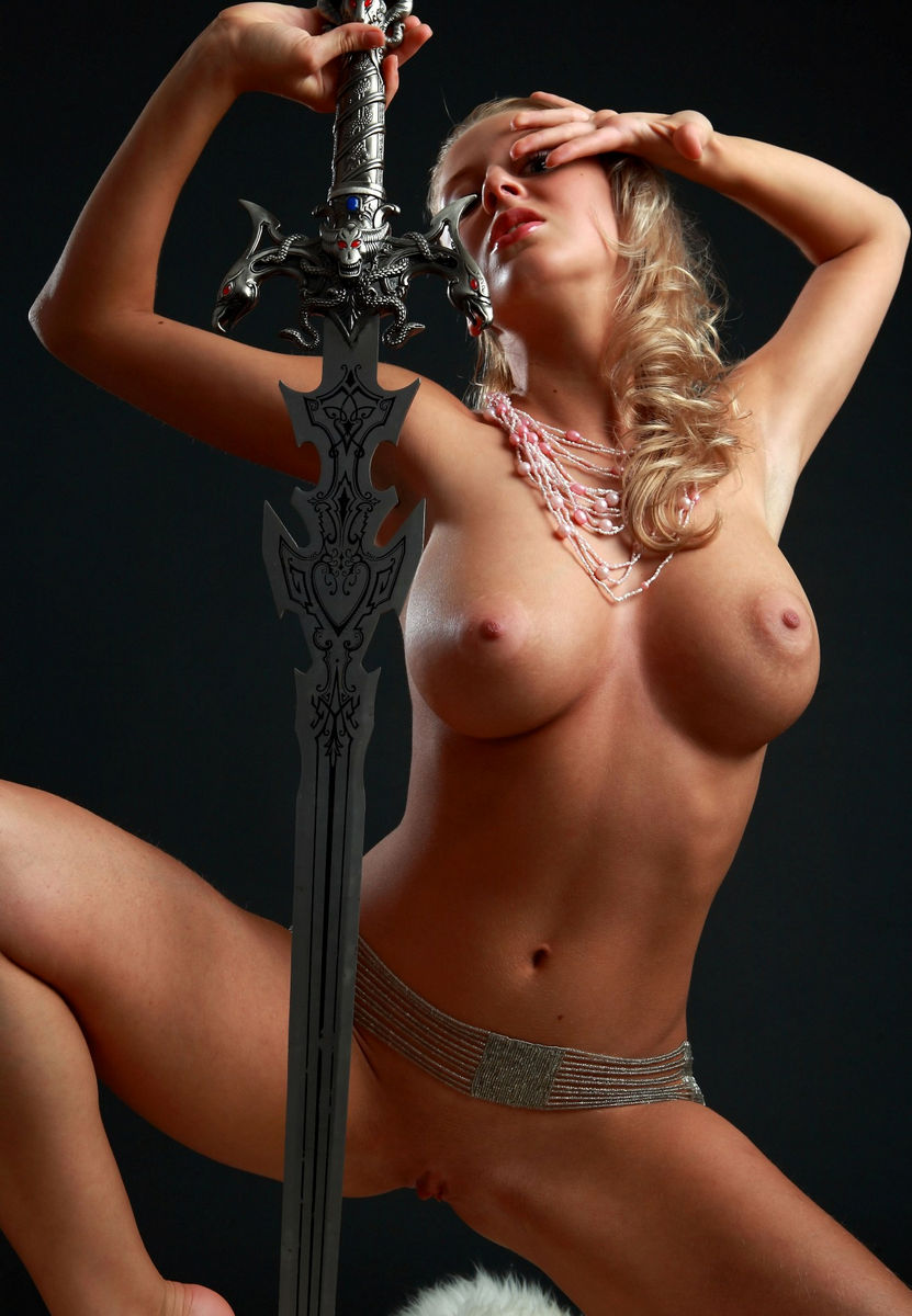 Amazing Russian Blonde With Perfect Big Boobs With A Sword -5120