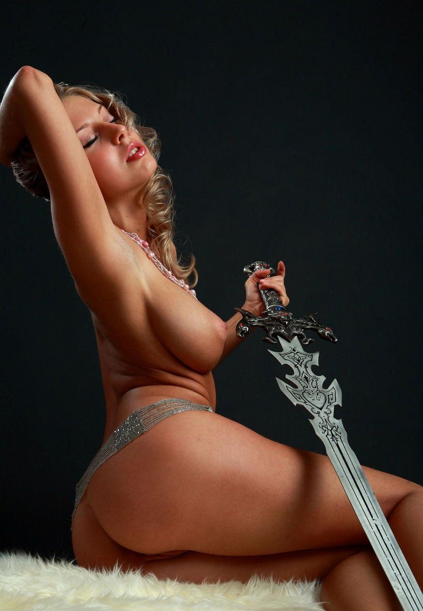 Amazing Russian Blonde With Perfect Big Boobs With A Sword -2709