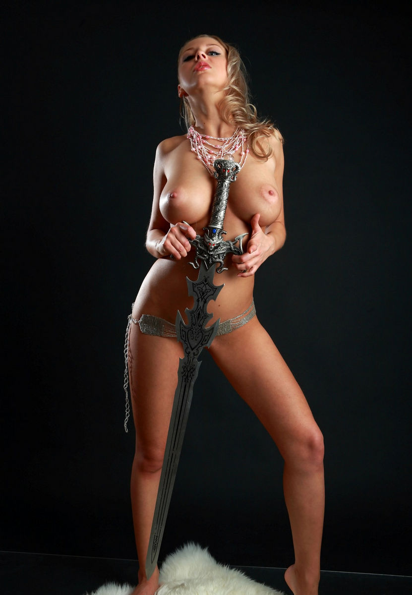 Amazing Russian Blonde With Perfect Big Boobs With A Sword -7221