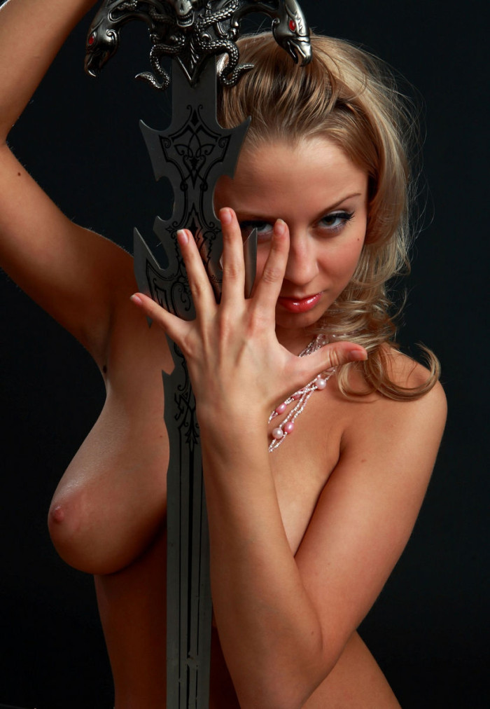 Amazing Russian Blonde With Perfect Big Boobs With A Sword -4093