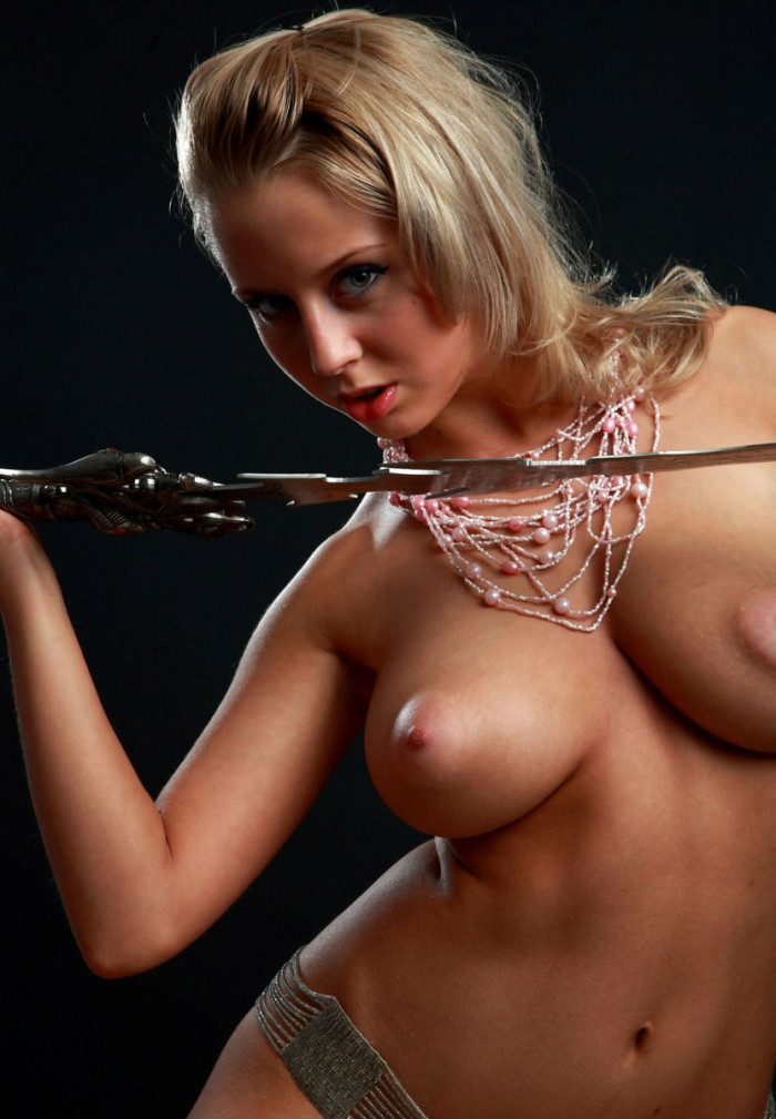 Amazing Russian Blonde With Perfect Big Boobs With A Sword -2874