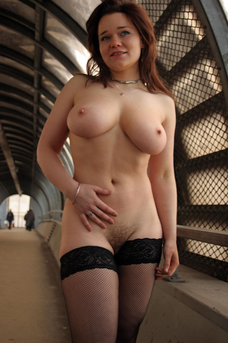Chubby Russian Busty Girl Posing Only In Stockings At -3975