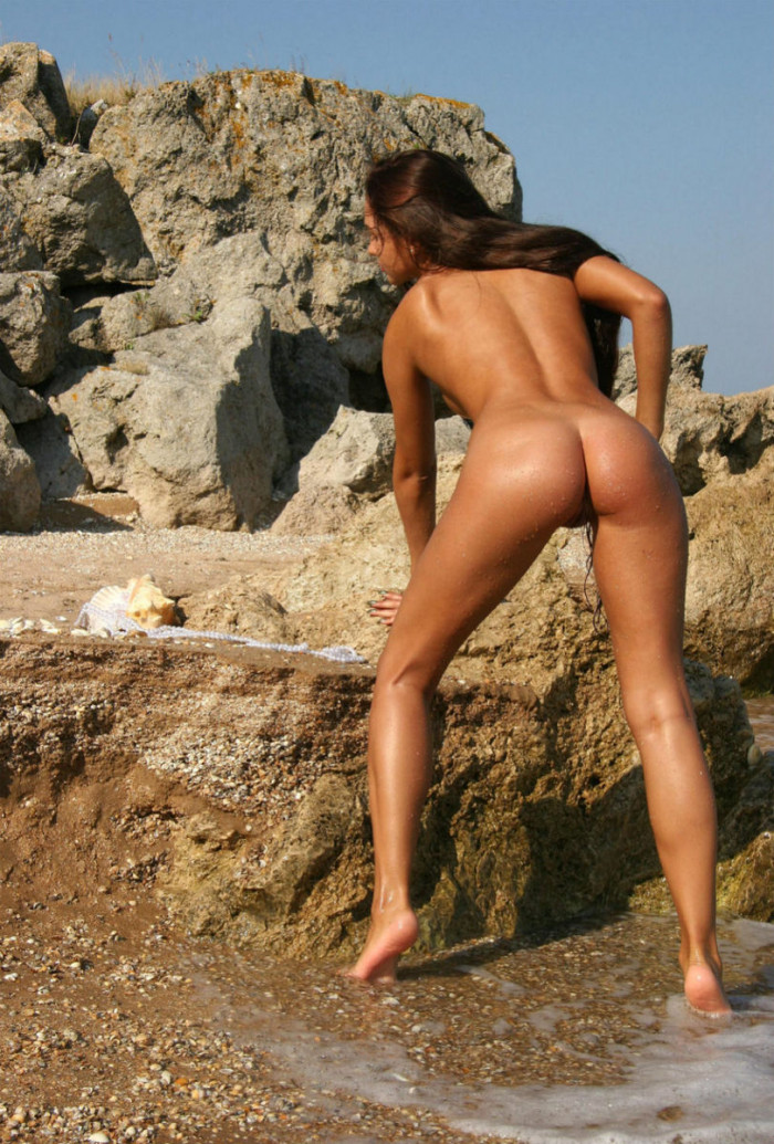 Girl With Very Long Hair And Tanned Body In The Sea Europornstar 1