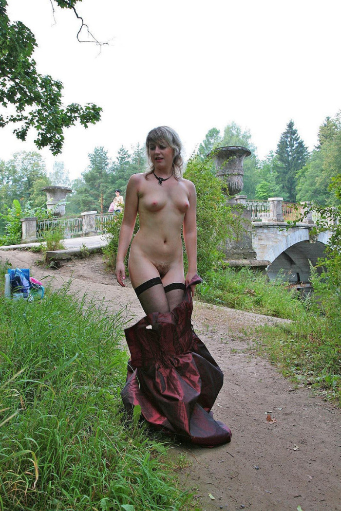 Hairy Russian Mature In Stockings Undressing At Public -6994