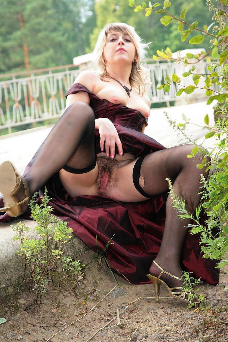 Hairy Russian Mature In Stockings Undressing At Public -1854