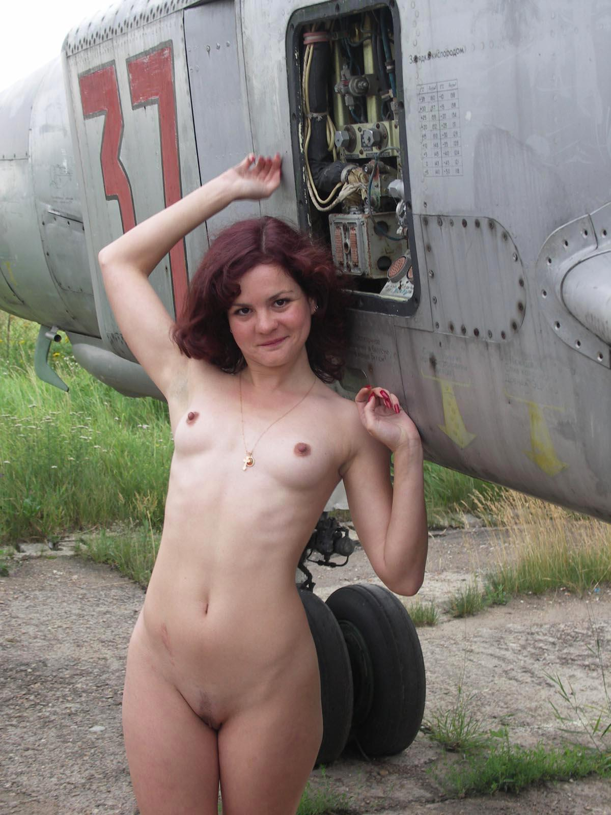 Girls naked in cockpit