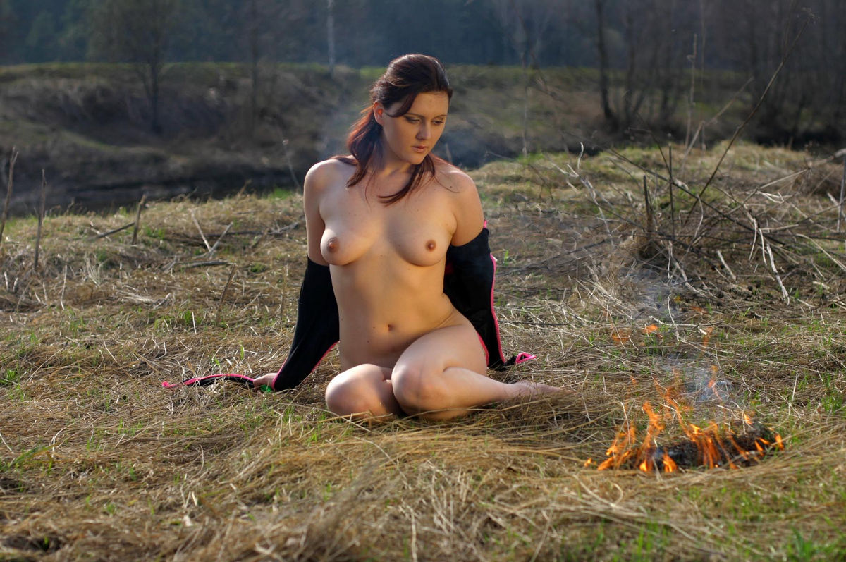 Nude girl in nature pussy are not