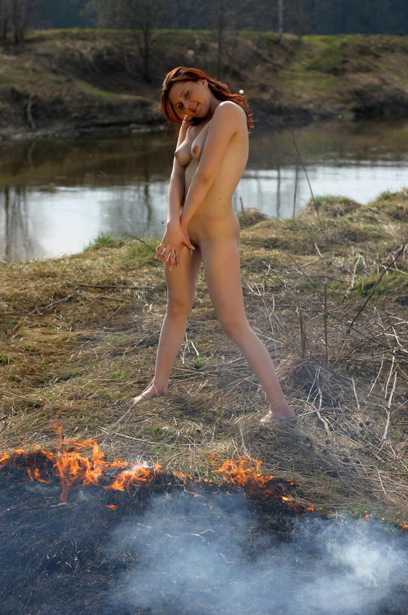 Naked Girl Burning The Grass On The Nature  Russian Sexy -8992
