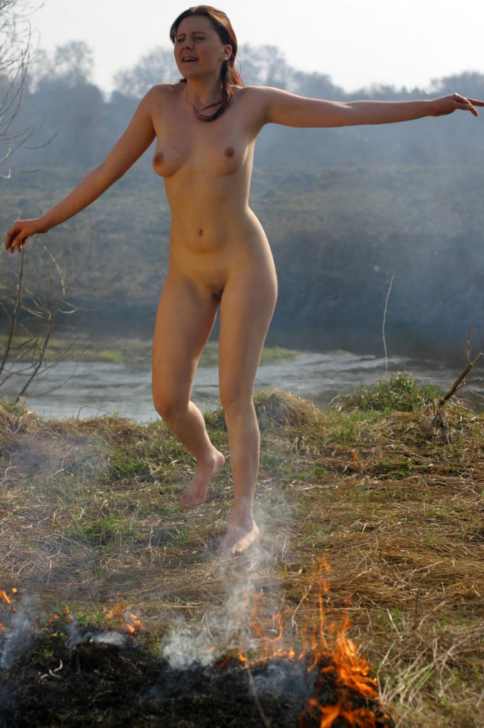 Naked Girl Burning The Grass On The Nature  Russian Sexy -7667