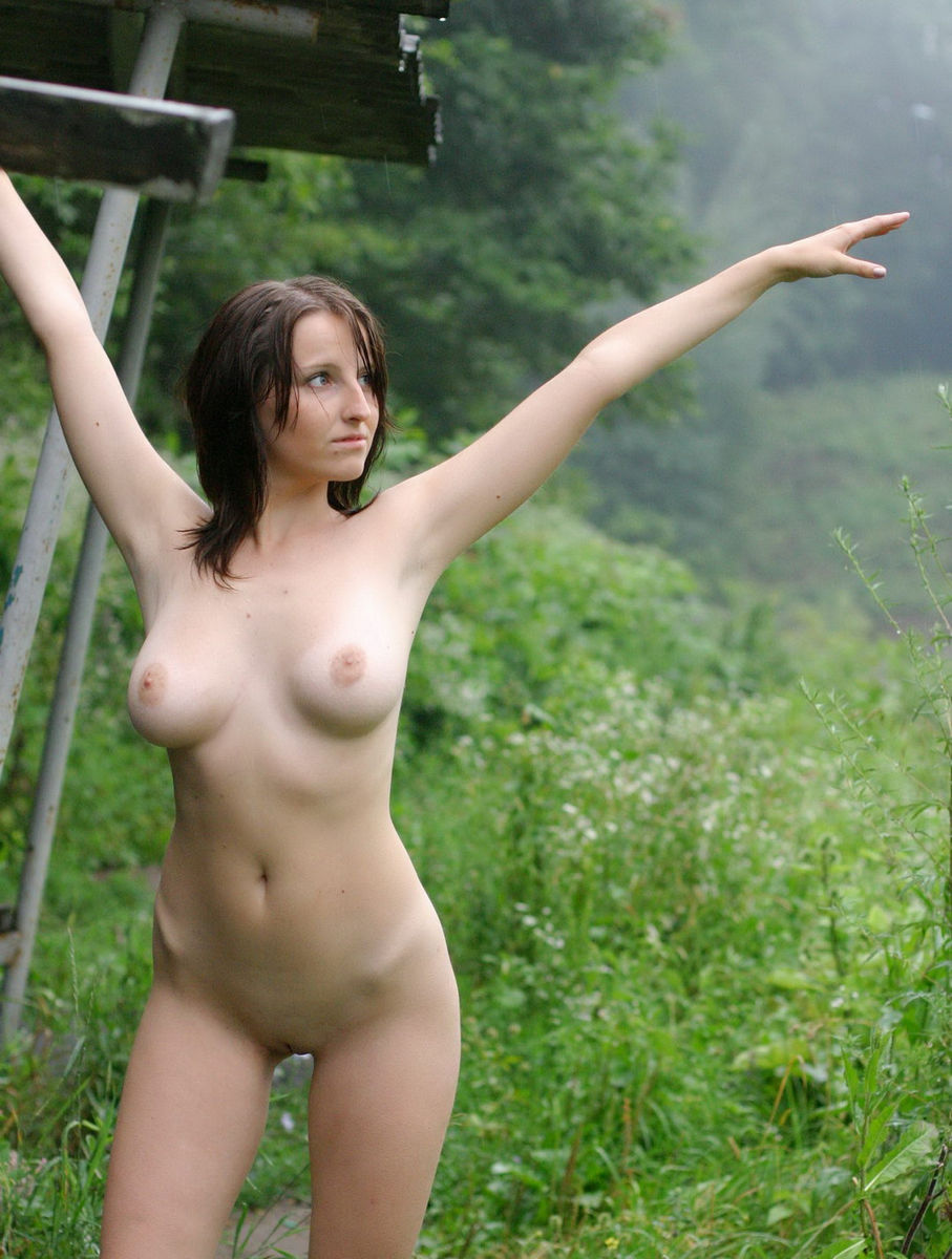 Has naked asian girl in the rain