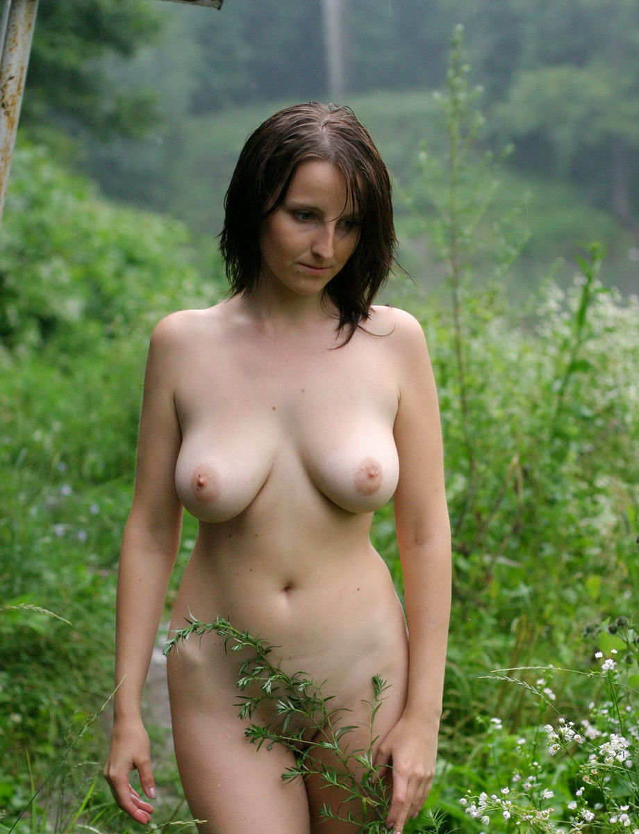 Naked busty girls in the rain