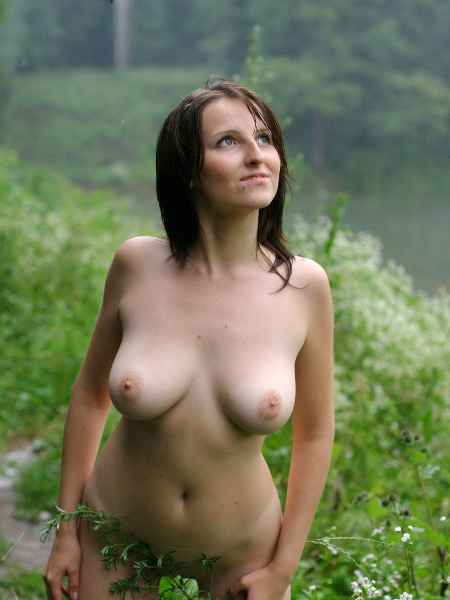 Naked asian girl in the rain amusing