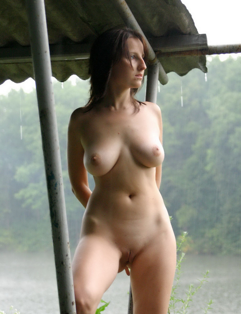 Naked Girl Posing In The Rain Outdoors  Russian Sexy Girls-9785