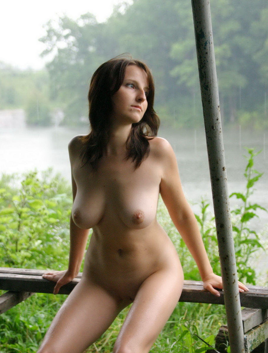 Naked Girl Posing In The Rain Outdoors  Russian Sexy Girls-3581