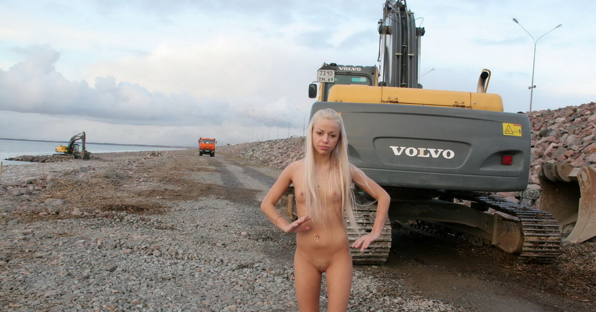 nude girl on construction site