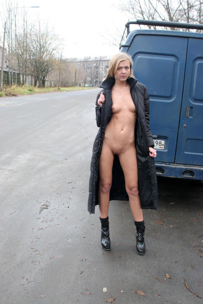 Russian Blonde With Nice Tits Posing Only In Boots At City -6637