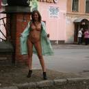 Russian chick flashes her body at public places