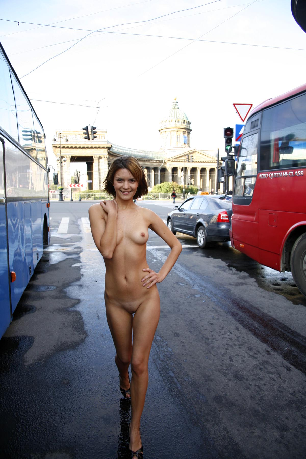 Shameless Girl Shows Her Naked Body On The Streets -3496