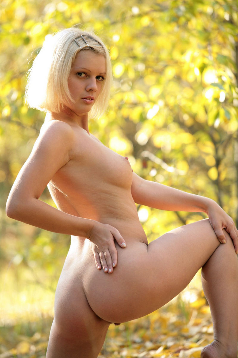 Short Haired Blonde With Great Boobs In Autumn Forest -8776