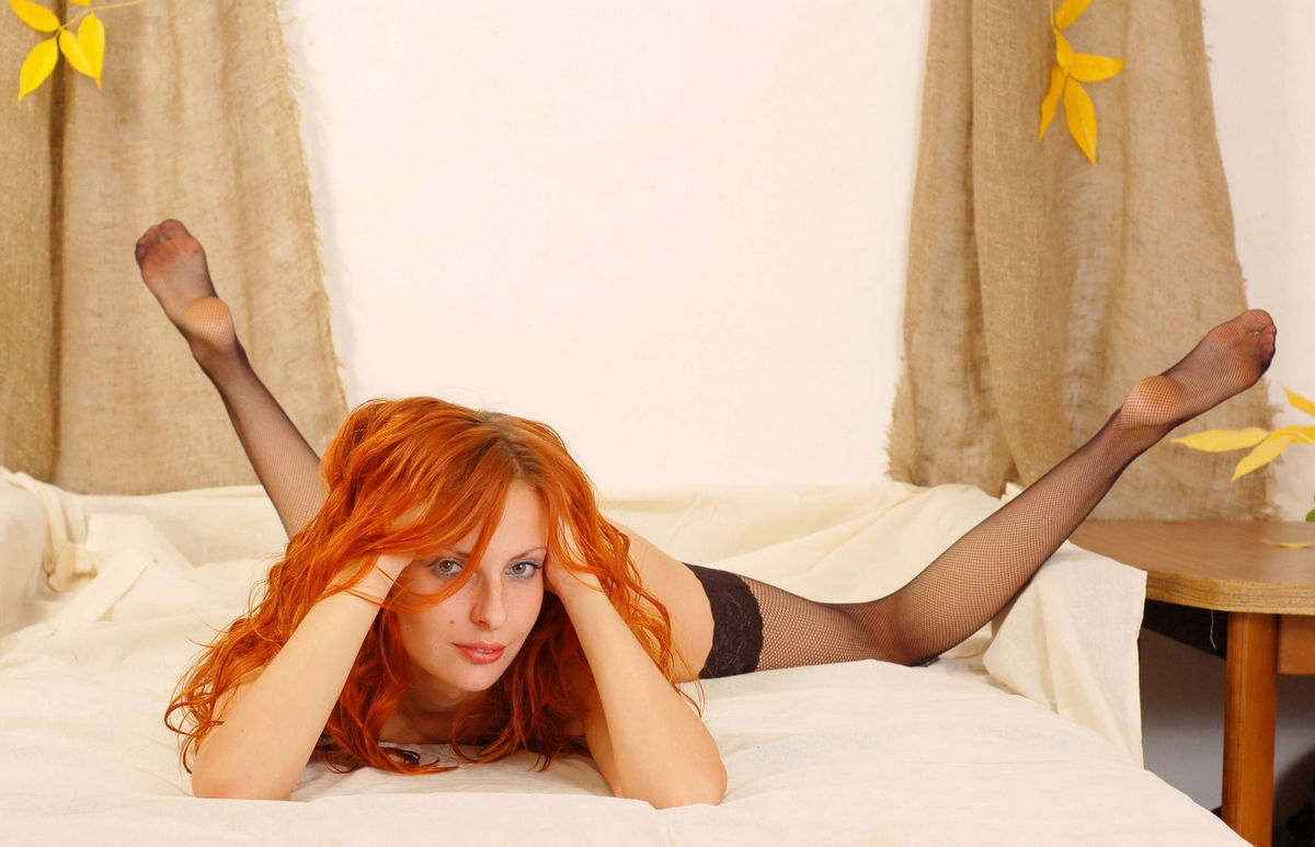 redhead babes in stockings