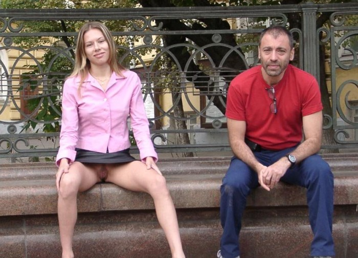 Hairy russian mature in stockings undressing at public park