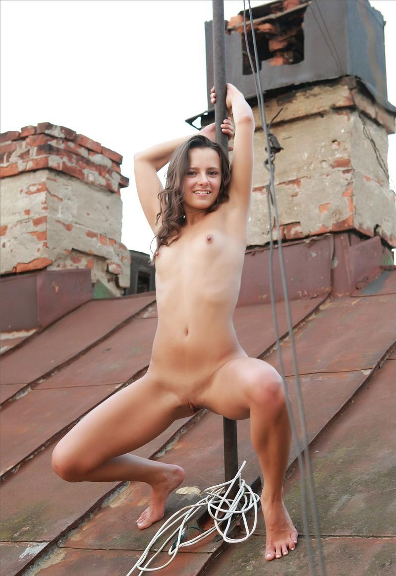 Smiling Russian Girl With No Clothes On The Roof  Russian -7429