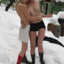 Two russian sluts with tan lines plays with each outher outdoors at winter