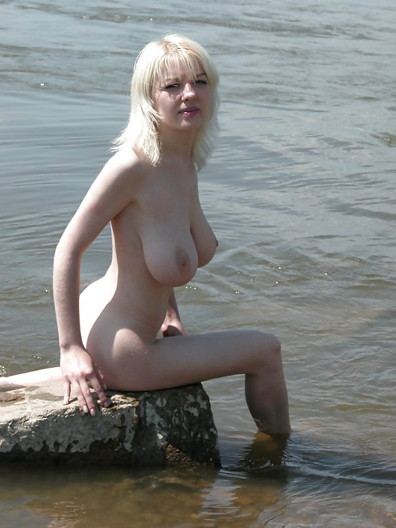 Blonde With Really Huge Boobs Posing In River  Russian -9718