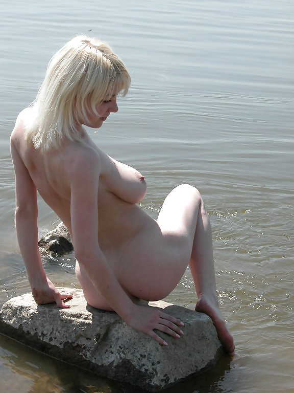 Blonde With Really Huge Boobs Posing In River  Russian -1155