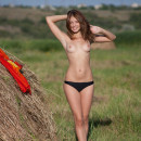 Girl with a sports body posing in the hay