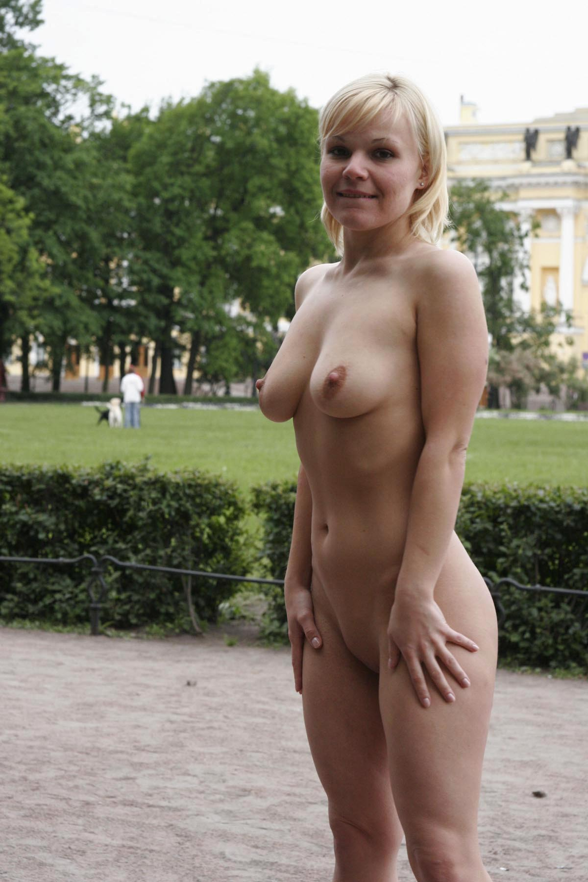 Short-Haired Busty Blonde Walks Naked At Very Center Of -1139