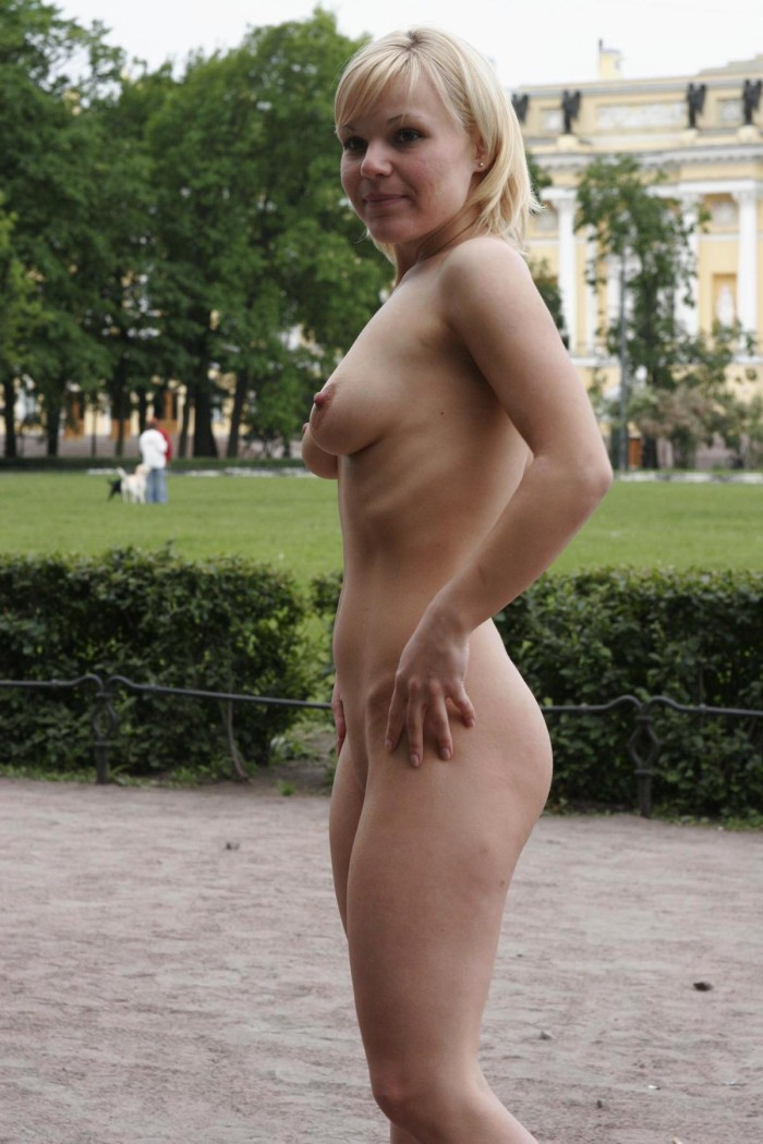 Short hair blonde nude