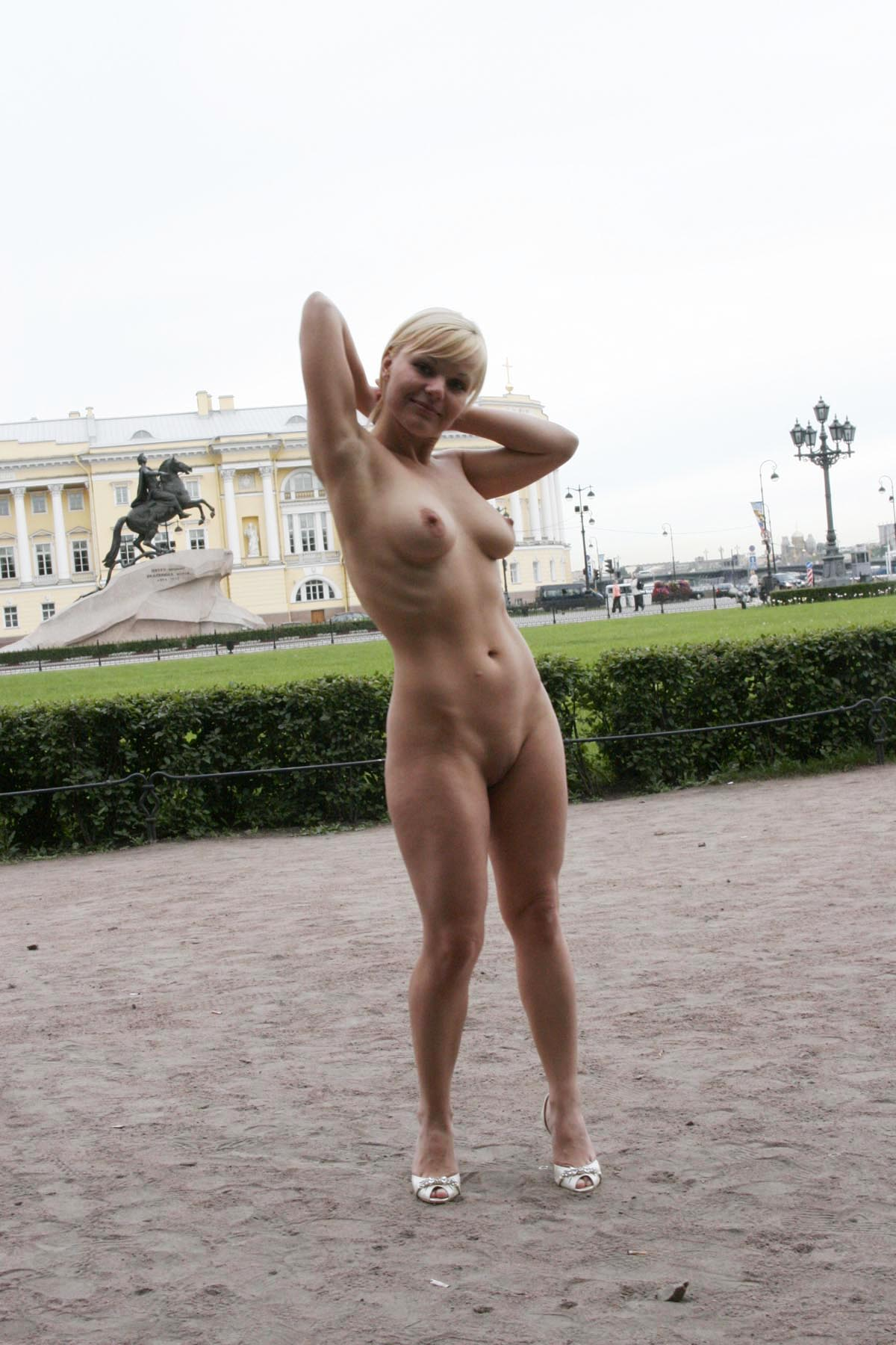 Short-Haired Busty Blonde Walks Naked At Very Center Of -1822