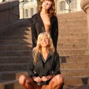 Two teen russian girls with amazing bodies at public pier in city center