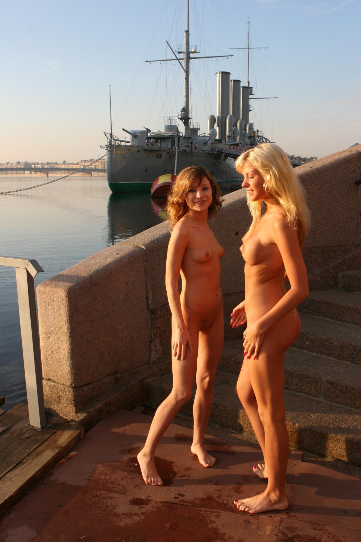 Two Teen Russian Girls With Amazing Bodies At Public Pier -9121