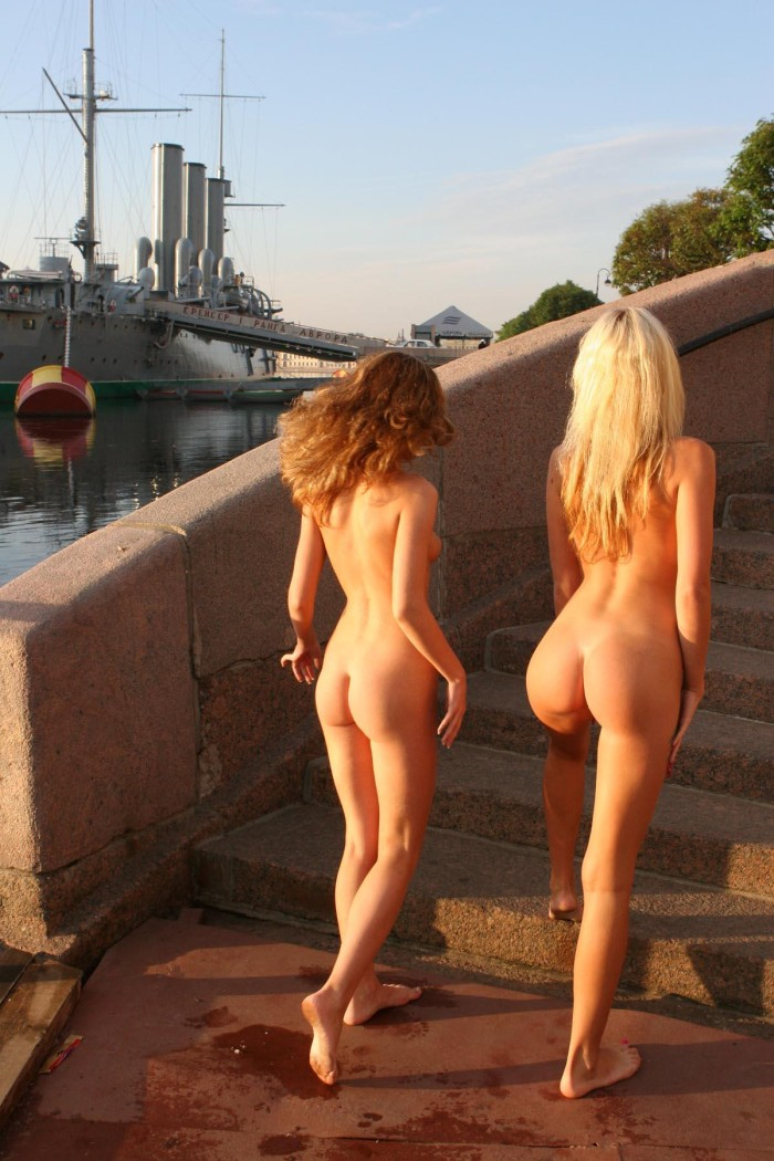 two teen russian girls with amazing bodies at public pier