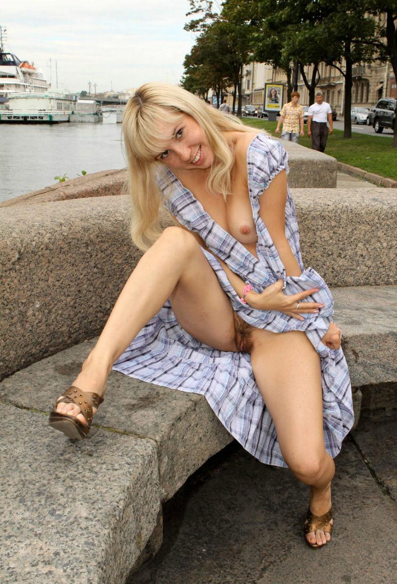 Women Flashing Hairy Pussy On Public