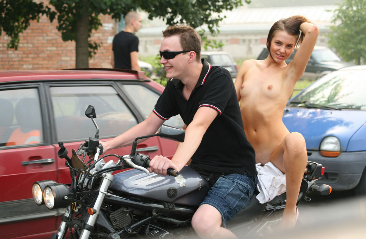 Wife on motorcycle naked