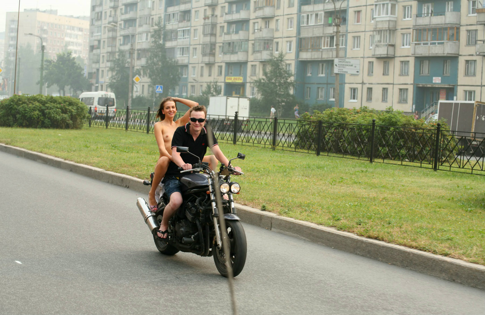 Crazy Russian Teen Rides A Motorcycle Naked In The Streets -7950