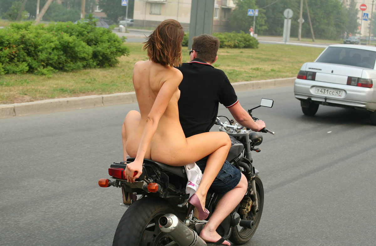 Naked biker girl solo