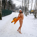 Crazy russian walks naked at winter near bus station