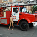 Good looking russian chick walks naked at fire station