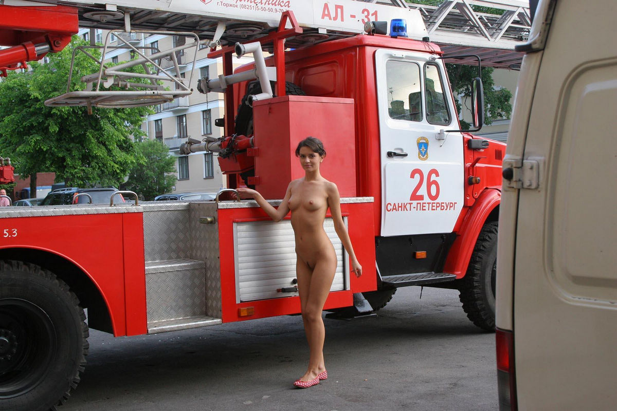 Good Looking Russian Chick Walks Naked At Fire Station -6657