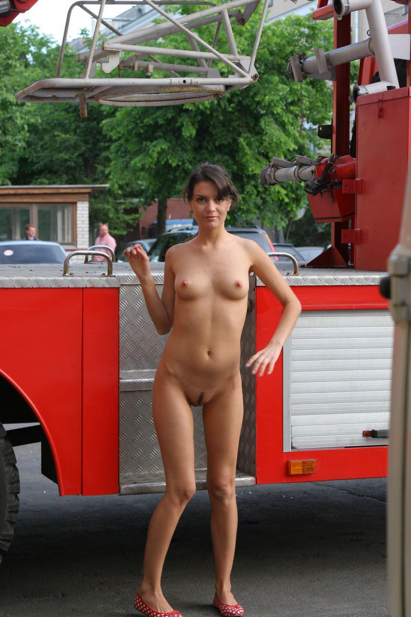 Good Looking Russian Chick Walks Naked At Fire Station -3972