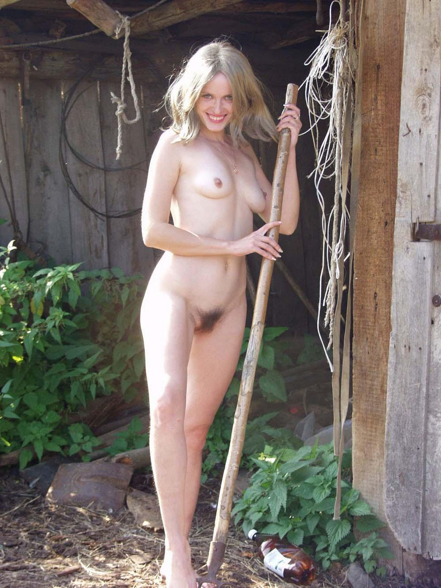 Russian Blonde Girl From Country With Hairy Pussy Outdoors -4207